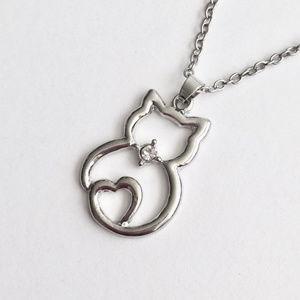 Silver Cat & Heart Pendant Necklace